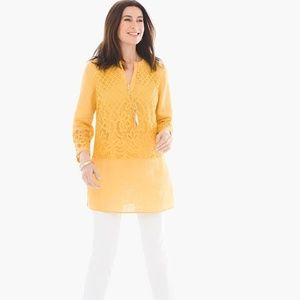 Chico's Linen Lace Mustard Gold Tunic Size 2 Large